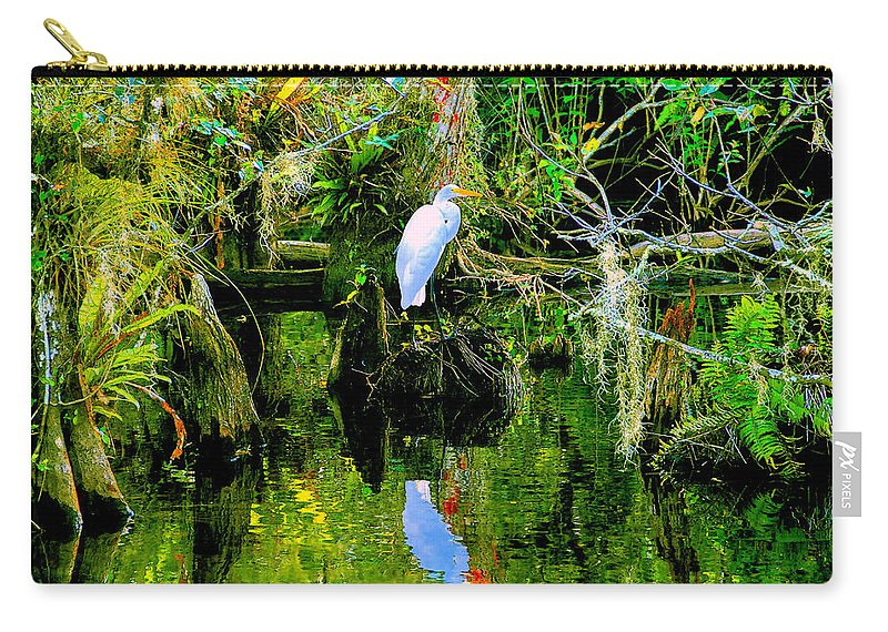 Everglades Carry-all Pouch featuring the painting Everglades Egret by David Lee Thompson