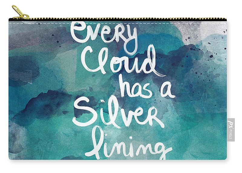 Cloud Carry-all Pouch featuring the painting Every Cloud by Linda Woods