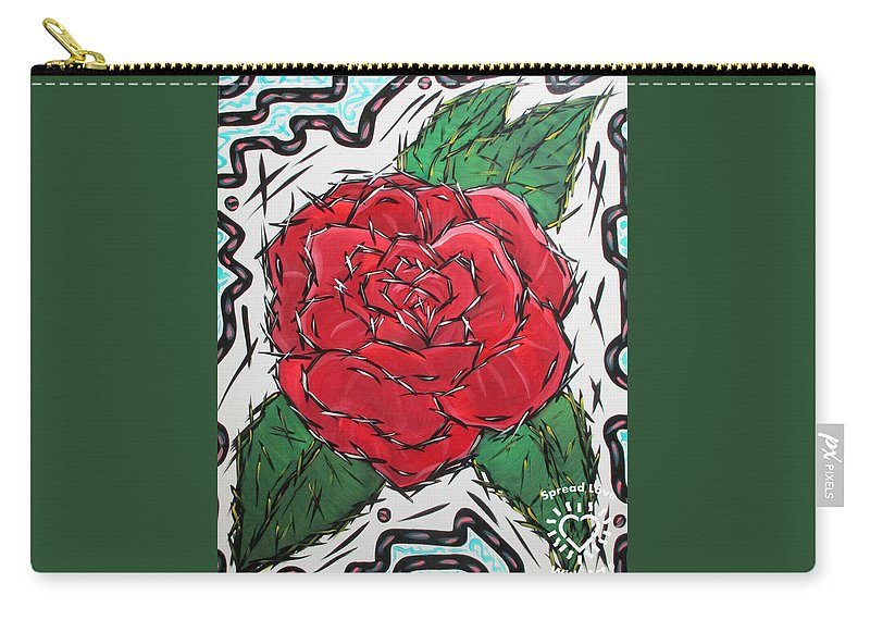 Abstract Carry-all Pouch featuring the painting Every Rose Has Its Thorns by Parker Beaudoin