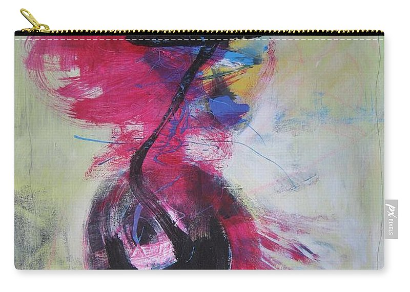 Abstract Paintings Red Paintings Carry-all Pouch featuring the painting Everything A Mistake-abstract Red Painting by Seon-Jeong Kim
