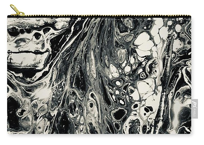 Acrylic Carry-all Pouch featuring the mixed media Evil In Black And White by B R Wiatrek