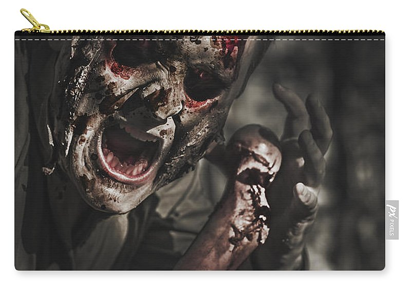 Scary Carry-all Pouch featuring the photograph Evil Male Zombie Screaming Out In Bloody Fear by Jorgo Photography - Wall Art Gallery