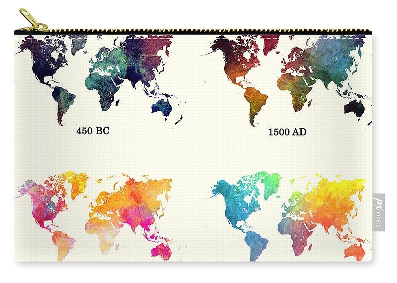 Evolution Of The World Map Carry all Pouch for Sale by Justyna JBJart