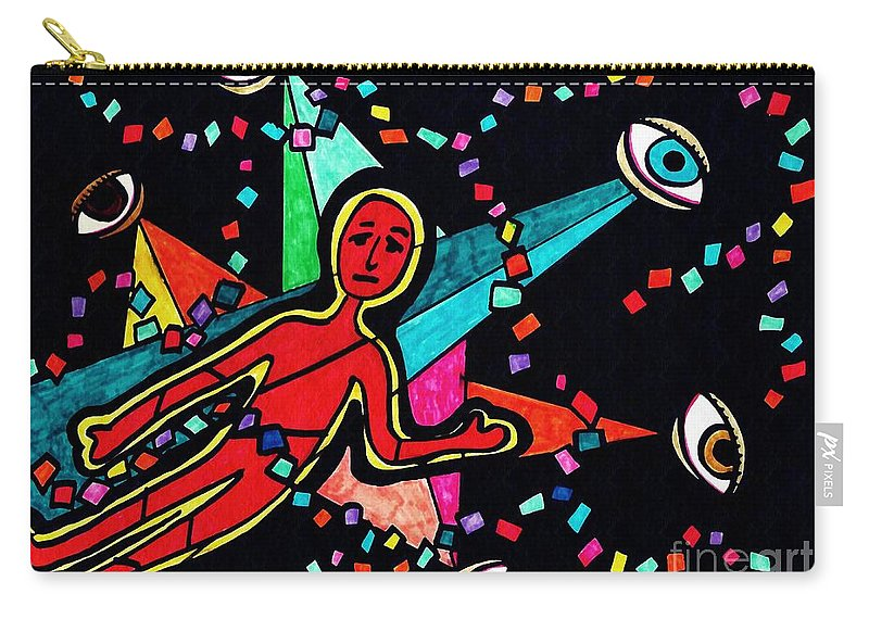 Eyes Carry-all Pouch featuring the drawing Examined Dissected Analyzed by Sarah Loft