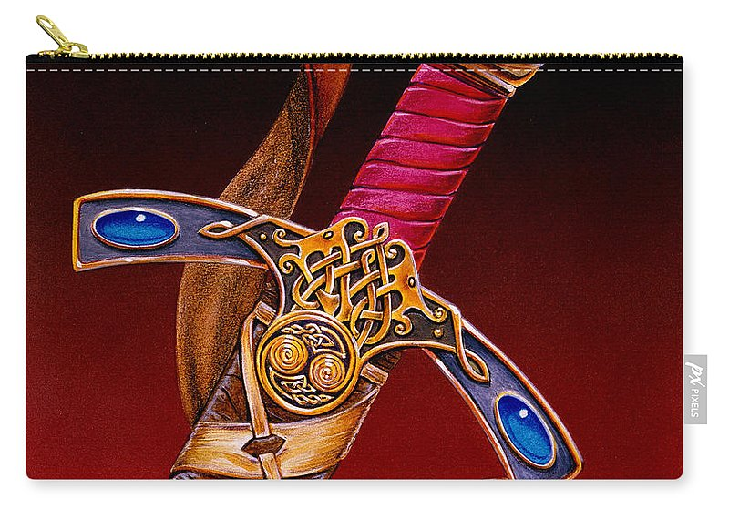 Swords Carry-all Pouch featuring the mixed media Excalibur by Melissa A Benson