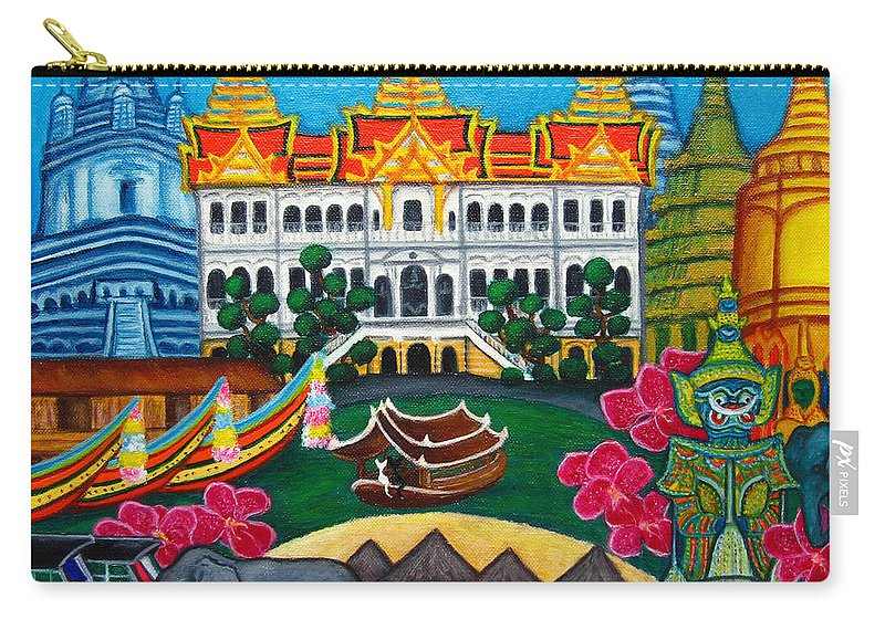 Bangkok Carry-all Pouch featuring the painting Exotic Bangkok by Lisa Lorenz