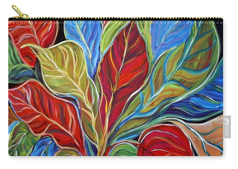 Art Carry-all Pouch featuring the painting Exotic Foliage by Luiza Vizoli