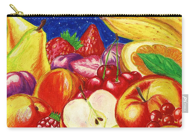 Still Life Carry-all Pouch featuring the mixed media Exotic Fruts by Alban Dizdari