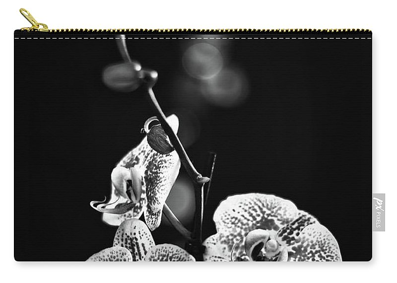 Exotic Orchid Carry-all Pouch featuring the photograph Exotic Orchid Bw by Alex Art and Photo