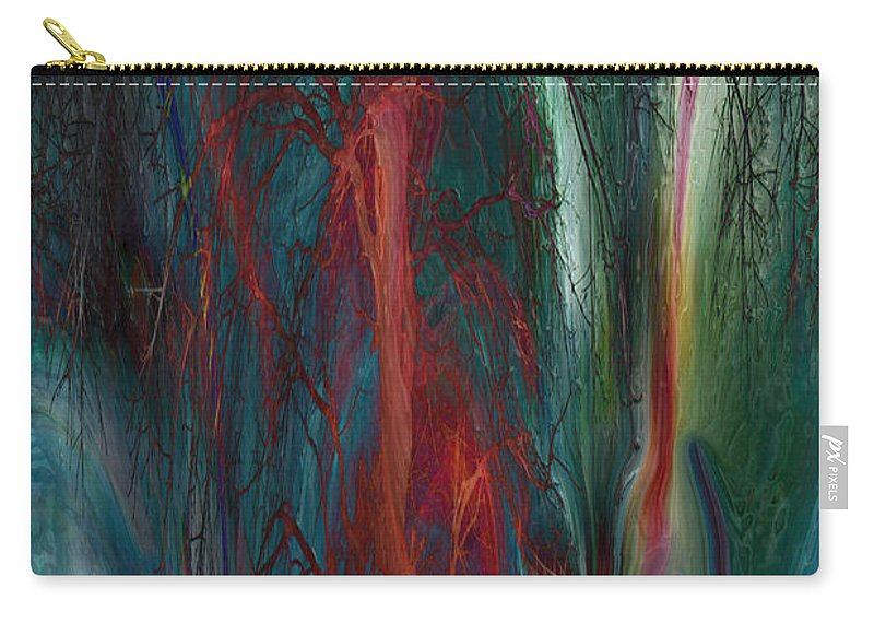 Abstracts Carry-all Pouch featuring the digital art Experimental Tree by Linda Sannuti