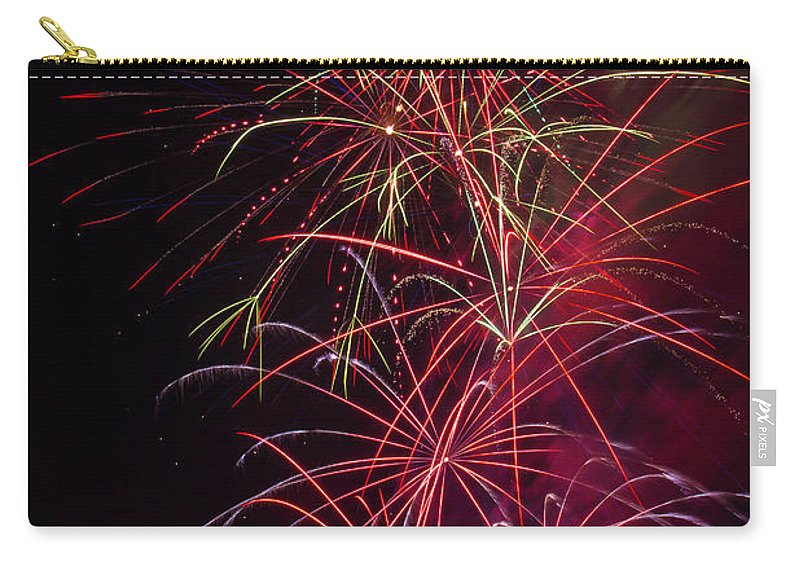 Dazzling Carry-all Pouch featuring the photograph Exploding Festive Fireworks by Garry Gay