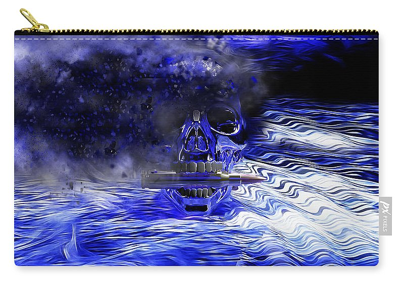 Skull Carry-all Pouch featuring the digital art Exploding Skull by Ericamaxine Price