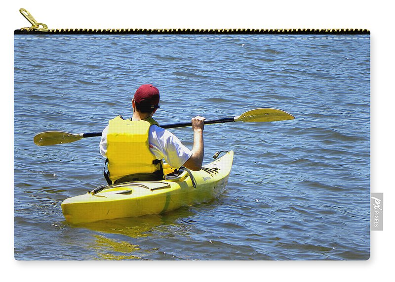 Kayak Carry-all Pouch featuring the photograph Exploring In A Kayak by Sandi OReilly
