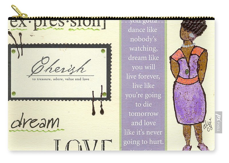 Gretting Cards Carry-all Pouch featuring the mixed media Expression by Angela L Walker