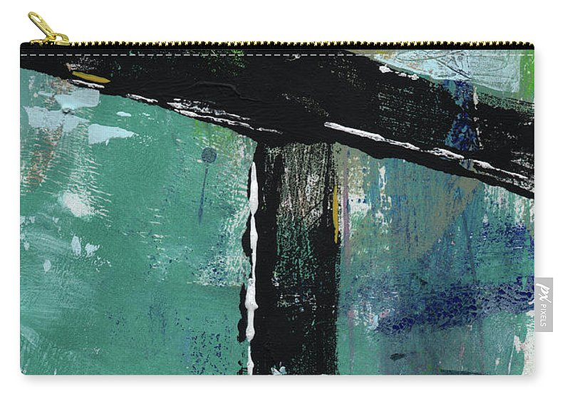Cross Carry-all Pouch featuring the mixed media Expressionist Cross 8- Art By Linda Woods by Linda Woods