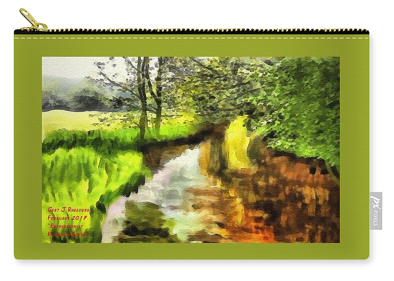 Forest Carry-all Pouch featuring the painting Expressionist Riverside Scene L A by Gert J Rheeders