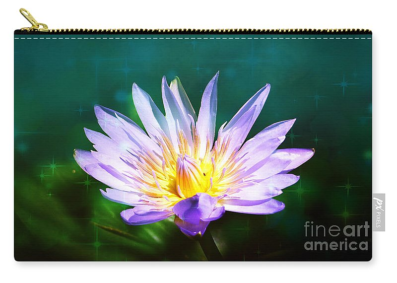 Exquisite Waterlily Carry-all Pouch featuring the mixed media Exquisite Waterlily by Trudee Hunter