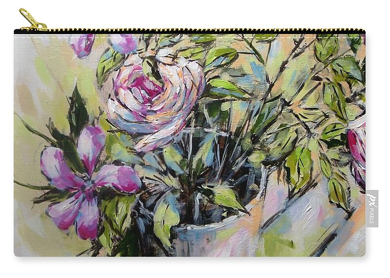 Painting Carry-all Pouch featuring the painting Exuberance by Cathy MONNIER