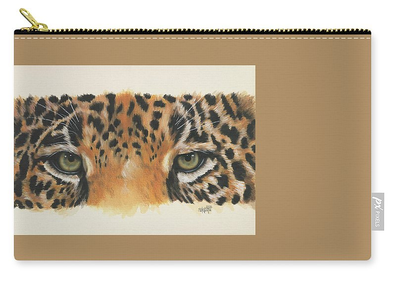 Jaguar Carry-all Pouch featuring the painting Eye-catching Jaguar by Barbara Keith