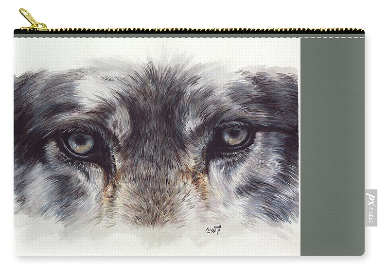 Wolf Carry-all Pouch featuring the painting Eye-catching Wolf by Barbara Keith