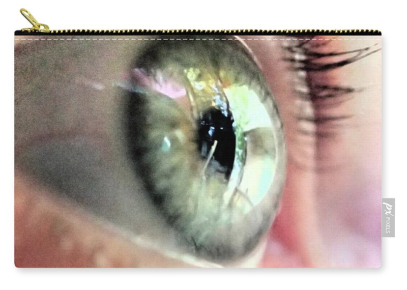 Macro Green Eye Photo Look Close-up Close Up Catherine Belloeil Carry-all Pouch featuring the photograph Eye by Catherine BELLOEIL