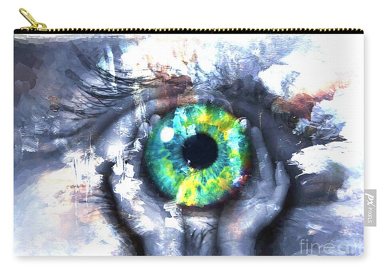 Art Print Carry-all Pouch featuring the painting Eye In Hands 002 by Gull G