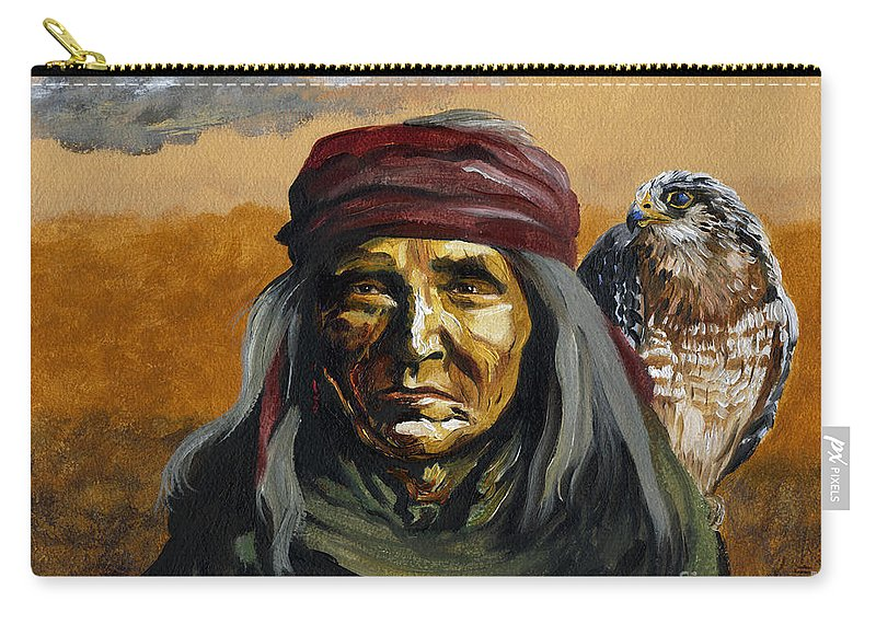 Hawk Carry-all Pouch featuring the painting Eye In The Sky by J W Baker