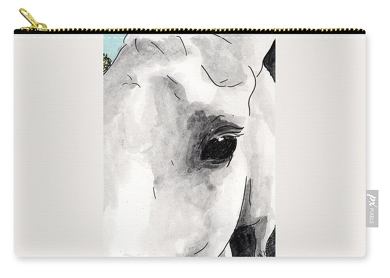 Horse Paintings Carry-all Pouch featuring the painting Eye Of The Beauty by Anna Katherine
