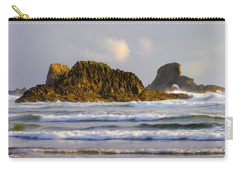 Seastacks Carry-all Pouch featuring the photograph Eye Of The Storm by Mike Dawson