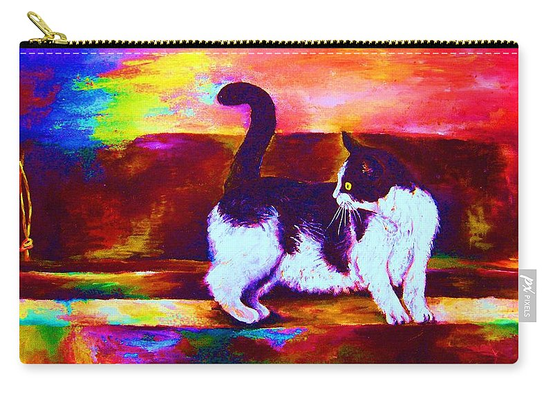 Cats Carry-all Pouch featuring the painting Eye On The Prize by Carole Spandau