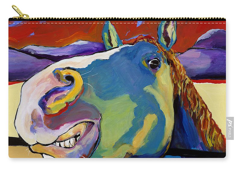 Animal Painting Carry-all Pouch featuring the painting Eye To Eye by Pat Saunders-White