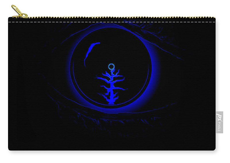 Eye Blue Abstract Different Black Orb Visual Carry-all Pouch featuring the digital art Eye Wonder by Andrea Lawrence