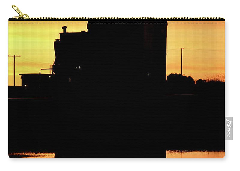 Twilight Carry-all Pouch featuring the digital art Eyebrow Gain Elevator Reflected Off Water After Sunset by Mark Duffy