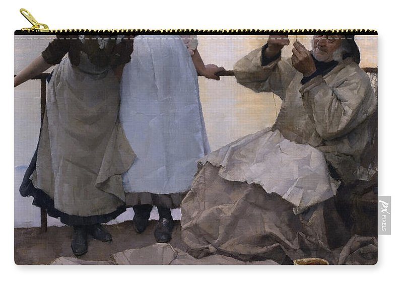 Eyes And No Eyes Carry-all Pouch featuring the painting Eyes And No Eyes by Frank Bramley