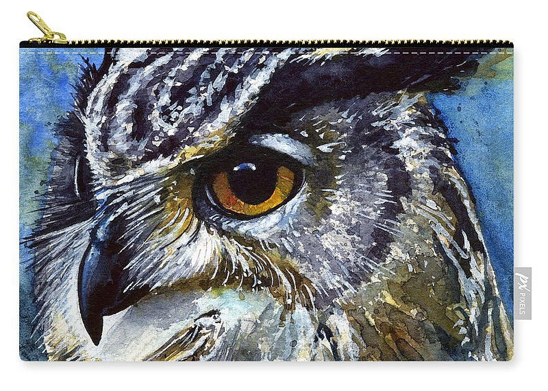 Owls Carry-all Pouch featuring the painting Eyes of Owls No.25 by John D Benson