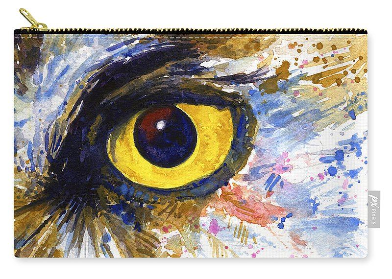 Owls Carry-all Pouch featuring the painting Eyes Of Owl's No.6 by John D Benson