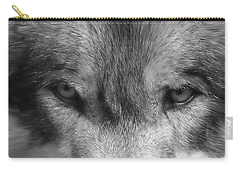 Wolf Canid Canus Lupis Wildlife Grey Gray Timberwolf Animal Mammal Photograph Photograhy Eyes Black White Desaturate Carry-all Pouch featuring the photograph Eyes Of The Wild by Shari Jardina