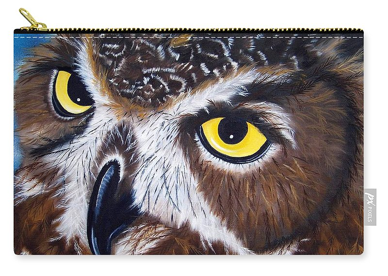 Owl Carry-all Pouch featuring the painting Eyes Of Wisdom by Debbie LaFrance