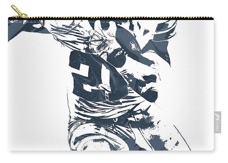 Ezekiel Elliott Carry-all Pouch featuring the mixed media Ezekiel Elliott Dallas Cowboys Pixel Art 3 by Joe Hamilton