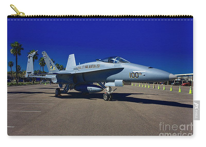 F-18 Carry-all Pouch featuring the photograph F-18 Hornet by Tommy Anderson