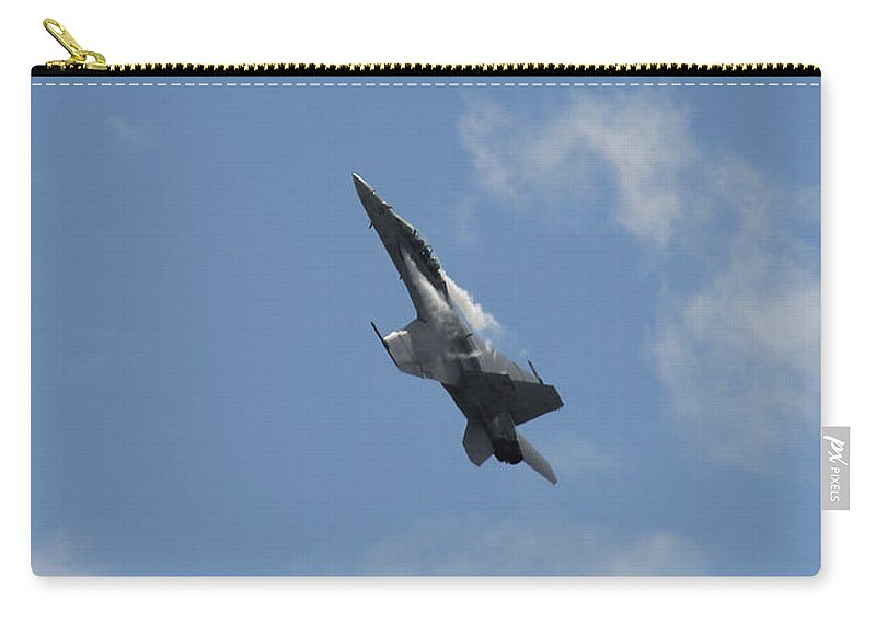 Mcdonnell Douglas F/a-18 Hornet Carry-all Pouch featuring the photograph F/a-18 Fighter Fast Climb by Aaron Berg
