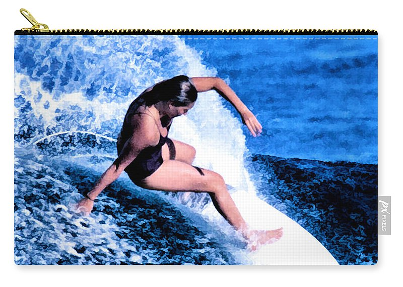 Surf Carry-all Pouch featuring the digital art F Harrer by Keith Kos