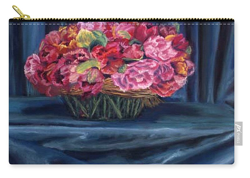 Flowers Carry-all Pouch featuring the painting Fabric And Flowers by Sharon E Allen