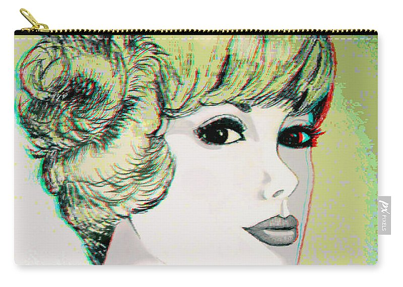 3d Carry-all Pouch featuring the photograph Face - Use Red-cyan 3d Glasses by Brian Wallace