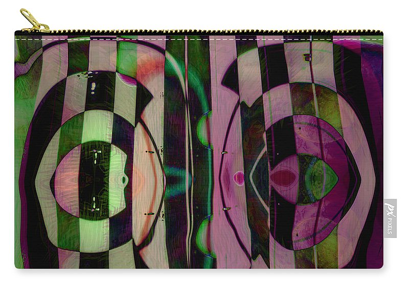 Face To Face Carry-all Pouch featuring the digital art Face 2 Face by Linda Sannuti