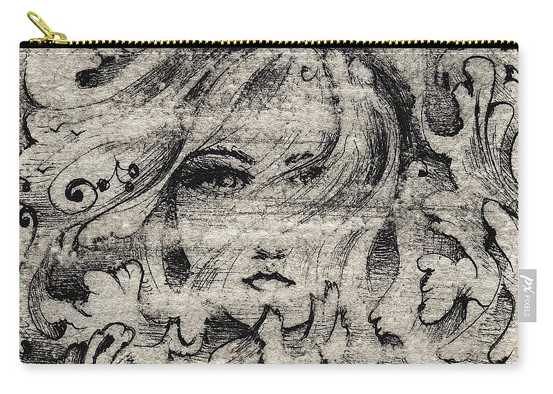 Storm Carry-all Pouch featuring the drawing Face In The Storm by William Russell Nowicki