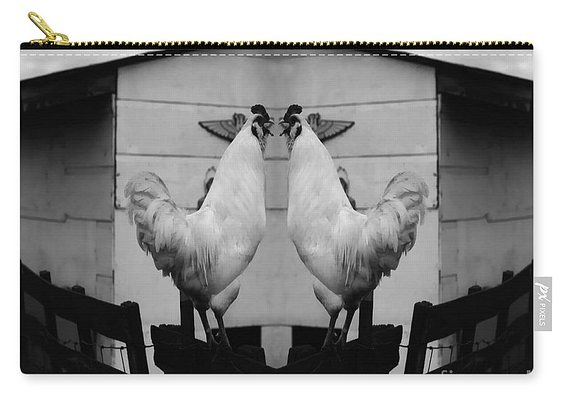 Rooster Carry-all Pouch featuring the photograph Face Off by Peter Piatt