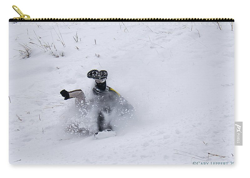 Snow Carry-all Pouch featuring the photograph Face Plant In The Snow by Cary Leppert