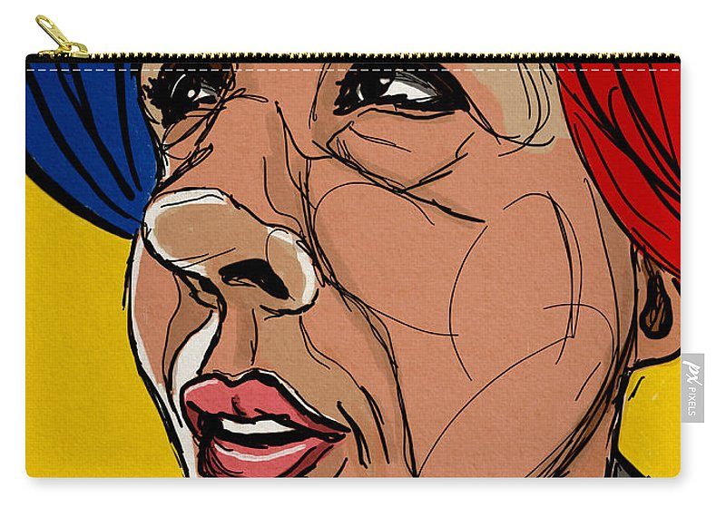 Portrait Carry-all Pouch featuring the digital art Face The Sun by Michael Kallstrom