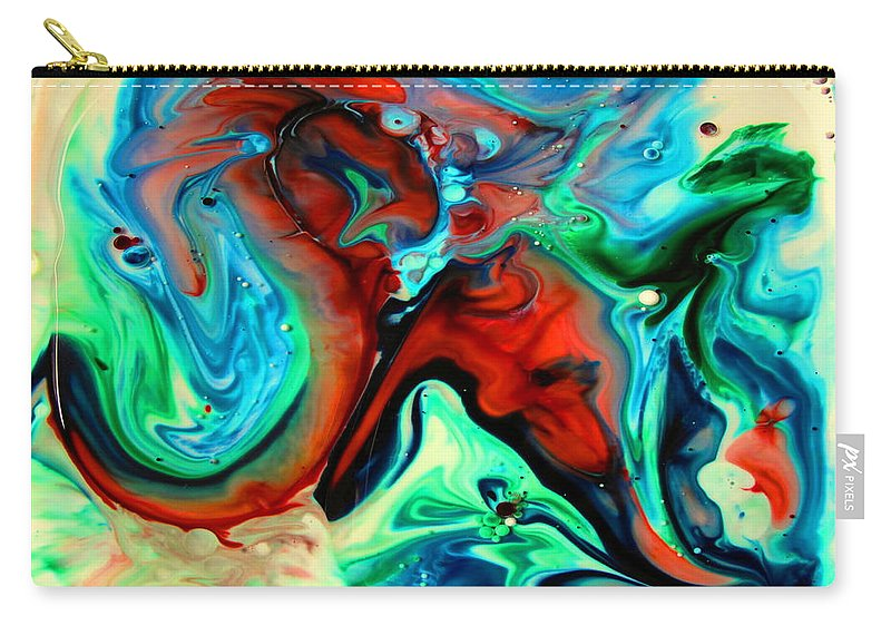 Liquid Art Carry-all Pouch featuring the painting Face To Face by Joyce Dickens